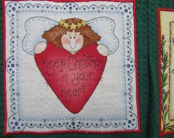 CHRISTMAS ANGEL PEACE on Earth Dark Green Tea Towels