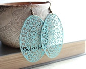 Patina Filigree Earrings Aqua Blue Patina Jewelry Shabby Chic Summer Jewelry Long Earrings Metal Lace Large Filigree Dangle Earrings
