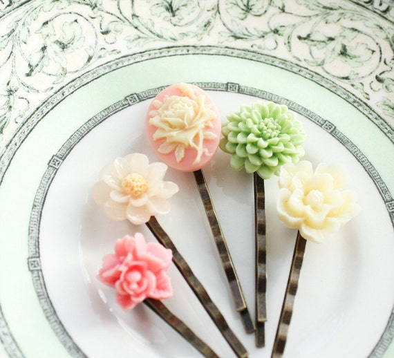 Pastel Bobby Pins, Rose Cameo, Resin Flowers, Cream, Mint, Lime Green, Coral Pink, Spring Accessories, Garden, Floral, Set of Five(5)