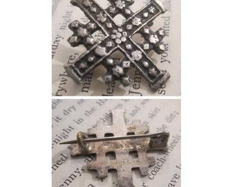 Antique Jerusalem Cross Silver Brooch - Antique and Fine Jewelry.