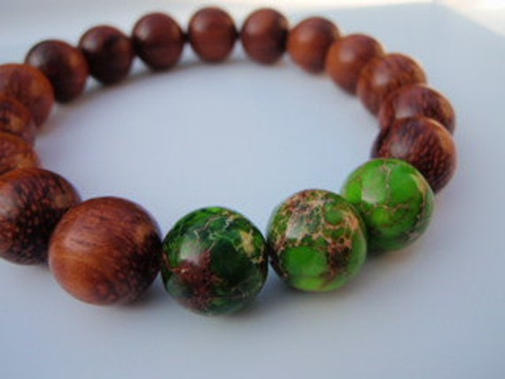 Green Imperial Jasper Tropical Wood Bead Bracelet 7 Inch