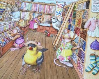 Signed Print, Yarn Shop