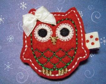 """Owl Christmas Felt Hairbow  Clippie  """"Ruby"""" - For Infant Toddler Girl"""