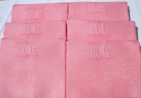 "ANTIQUE FRENCH linen napkins hand tinted ""PEACH"" monogrammed french tableware"