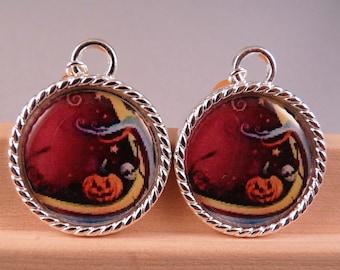 Halloween Earrings Tile Earrings Pumpkin Earrings Skull Jewelry Halloween Jewelry Holiday Jewelry Beaded Jewelry Pumpkin Jewelry