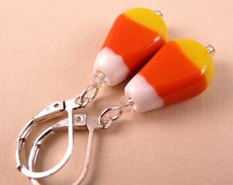 Halloween Earrings Halloween Jewelry Candy Corn Earrings Beaded Jewelry Holiday Jewelry Lampwork Earrings Lampwork Jewelry Beaded Earrings