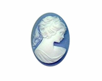 30x22mm Blue and White Profile Resin Cameo Item 636R
