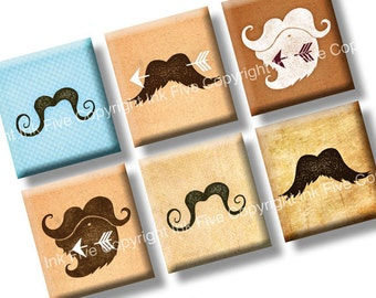 Moustache Meet Arrow scrabble tile images 0.75x0.83 inch. Two 4x6'' mustaches Collage Sheets. Quirky retro brown sepia Digital download