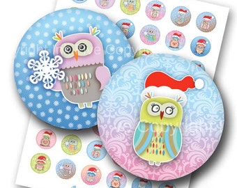 Christmas Owls 1 inch bottle cap circles images. Xmas printable digital collage sheet for bottlecaps, party decors. Digital download