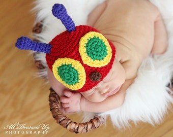 VERY HUNGRY CATERPILLAR Crochet Hat Baby Newborn 0 3 6 12 Months 2T 3T 4T Child Adult