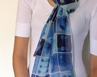 Blue Mitosis Silk Scarf