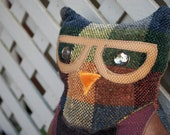 One-of-A-Kind City Nerd Owl Plush Pillow - Plaid Hipster Owl