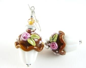 Cupcake Lampwork Earrings, Glass Bead Earrings, Unique Chocolate Earrings, White Beadwork Earrings, Brown Lampwork Jewelry