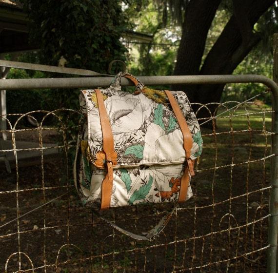 custom floral canvas backpack- messenger laptop carry on travel bag