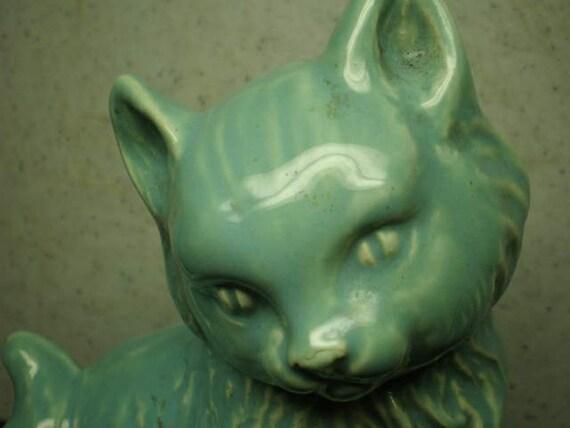 Vintage Mid Century Ceramic Tourquoise Cat Planter