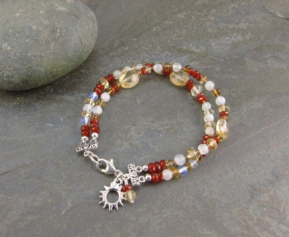 New Beginnings, Success & Confidence Bracelet with Citrine, Carnelian and Moonstone