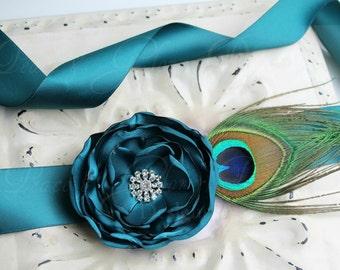 Teal Flower and Peacock Sash - Bridal Bridesmaids Sashes - Bridesmaids Gifts - Dress Adornment - Many Colors
