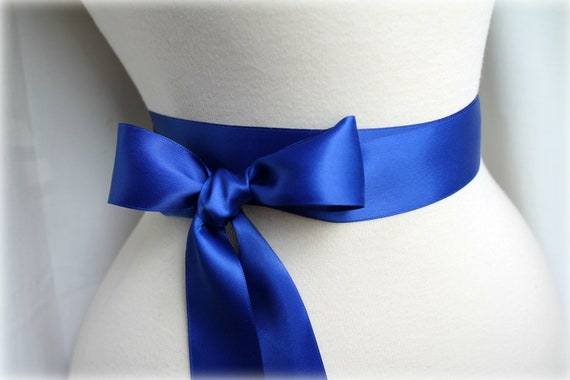 Sapphire / Cobalt Blue Satin Sash Belt - Double Faced Satin Ribbon Sash - Beach Summer Wedding - Bridal Bridesmaids - Many Colors