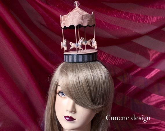 Cunene Pink Carrousel, Merry-go-round Fascinator Hat