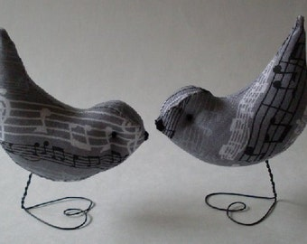 Grey & Black and White Music Love Birds Wedding Cake Toppers Decorations