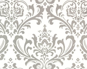 """Custom Tablecloth Storm Gray and White Traditions Damask Design 54"""" x 72"""""""
