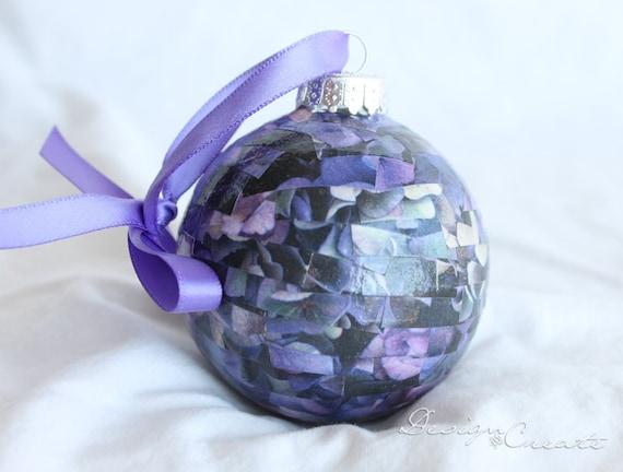Handcrafted Christmas Ball - Purple Hydrangea  - Decoupage Ornaments