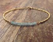 Blue Apatite Bracelet Gift for Women 24K Gold Vermeil Beads Beaded Bracelet Gemstone Bracelet Womens Gold Bracelet Stone Gifts for Her Wife