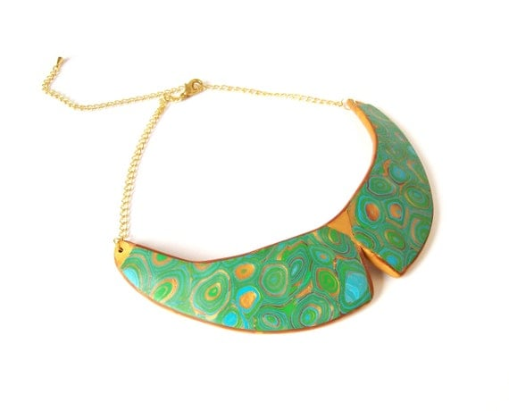 Collar bib statement necklace Green turquoise gold art deco art nouveau inspired polymer clay choker necklace Klimt-inspired unique