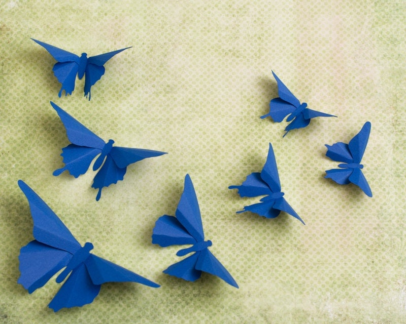 3d butterfly wall art cobalt blue paper butterfly silhouettes for How to make paper butterflies for wall