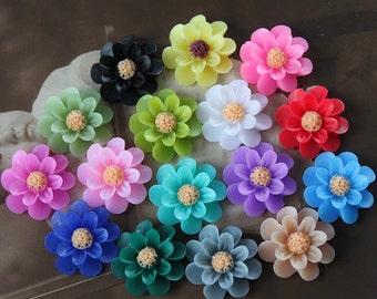 16pcs New  Wholesale Beautiful  Mix Colorful Gerbera Flower Resin Cabochon   -16colors -(CAB-EU-MIXSS)