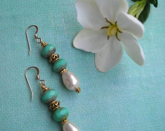 TERESA ~ Turquoise Picasso Rondelle and Creamrose Pearl Dangle Earrings