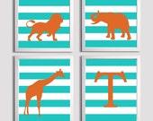Personalized Kids Nursery Wall Art Safari Zoo Animals Stripe Orange Turquoise set of 4 each 11x14