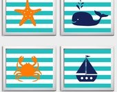 Chevron Beach Ocean Sea Turquoise Navy Orange more colors available set of 4 each 8x10