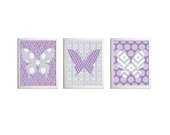 Ikat Butterfly Wall Art Purple Lilac Grey set of 3 each size 8x10