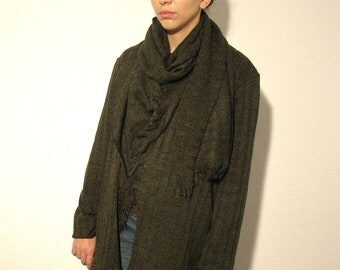 Wool Wrap cardigan knit oversized fringed with scarf