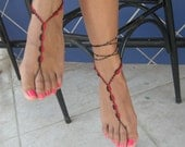 Barefoot Sandals, bead ,red,black, READY TO SHIP