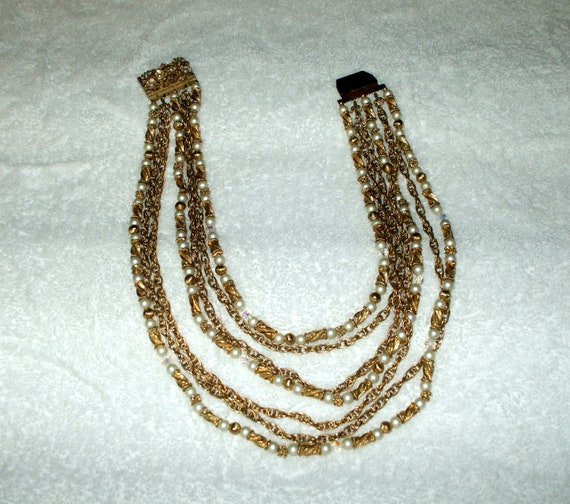 Multi Strand Costume Necklace Beads Pearls Gold Tone 1950's or Earlier