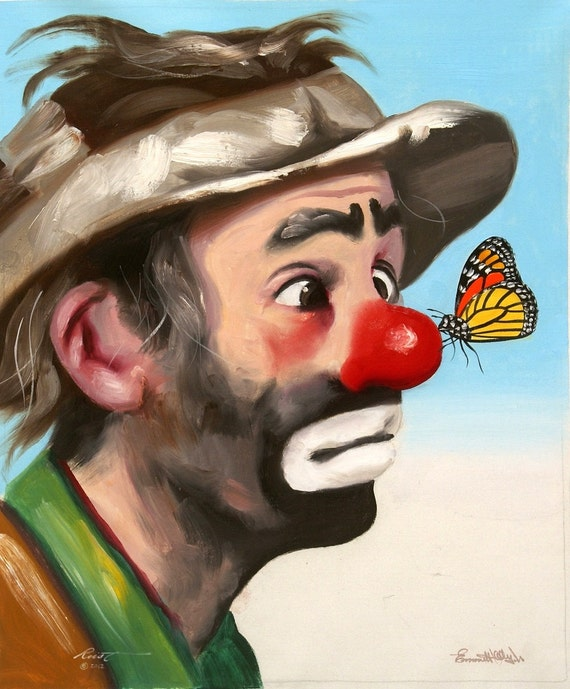 Emmett Kelly Clown Oil Painting