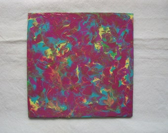 Abstract Acrylic on Wood Panel Purple Blue Green Yellow with Easel