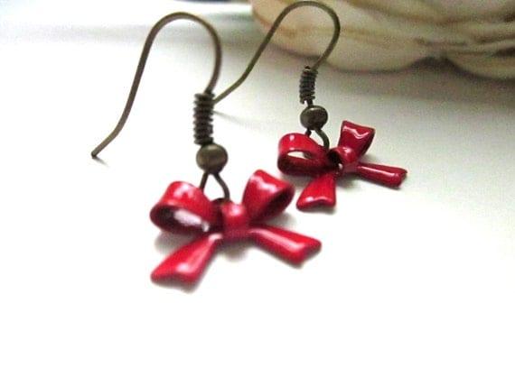 Red Bow Dangle Earrings