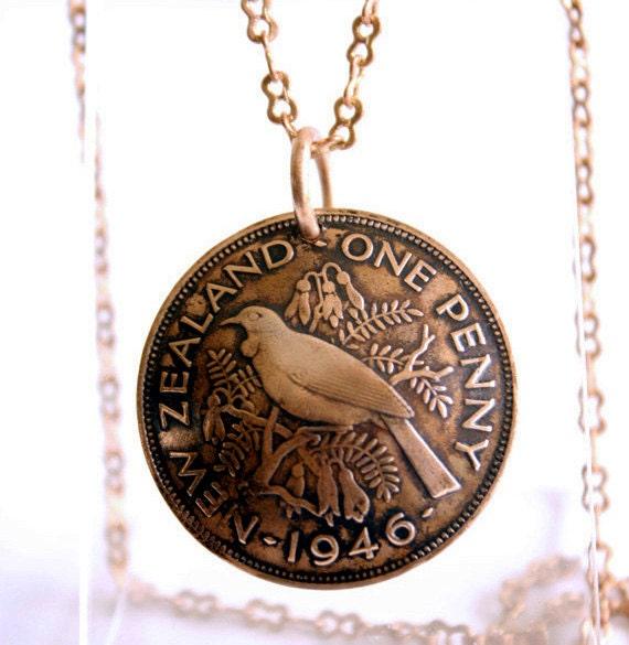 Storied Past Long Bronze Pendant Necklace New Zealand Bird Cultural Artifact