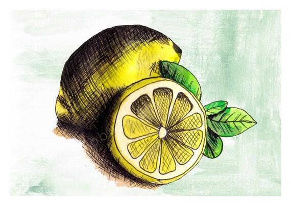 DIGITAL Lemon illustration-postcard sized instant download from original ink and watercolor illustration