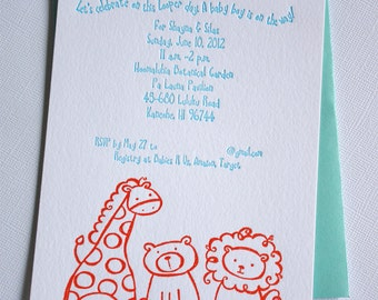 Custom Letterpress Baby Shower Invitations Zoo Safari