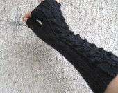 Black Cable Bobble Long Fingerless Gloves Fingerless Mittens Knit Elegant Wool Classic Women Urban Fashion Rustic Christmas gift idea