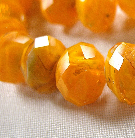 "Millefiore Orange Yellow White hint of Green  Faceted Crystal Rondell Beads, 11mm x 9mm, 11"" strand, 35 pieces"