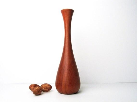 Danish Modern Teak Wood Vase / Mid-Century Wooden Vase