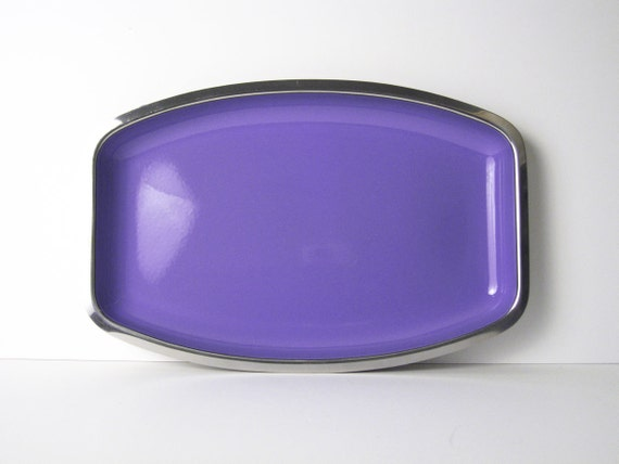 Cathrineholm Stainless and Enamel Serving Tray / Platter in Periwinkle Blue