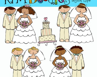KPM Bride and Groom Digital Clip art clipart COMBO