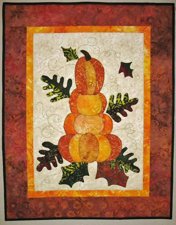 Pumpkins Wall Hanging quilted Wall Art in Batiks (made to order)