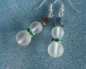 Frosted Glass Snowman Christmas Earrings